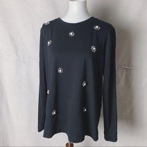 Banana Republic Tops - BANANA REPUBLIC Embellished Thick T-Shirt Black